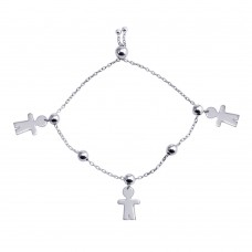 Wholesale Sterling Silver 925 Rhodium Plated Boy Charm Lariat Bracelet - DIB00068RH