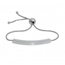 Wholesale Sterling Silver 925 Rhodium Plated Lariat Bar Bracelet - DIB00071RH