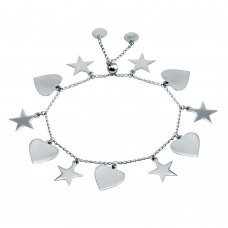 Wholesale Sterling Silver 925 Rhodium Plated Heart and Star Dangling Bracelet - DIB00073RH