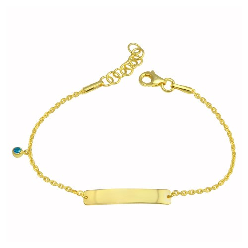 Wholesale Sterling Silver 925 Gold Plated Blue CZ Baby ID Bracelet - DIB00075GP