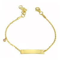 Wholesale Sterling Silver 925 Gold Plated Pink CZ Baby ID Bracelet - DIB00076GP
