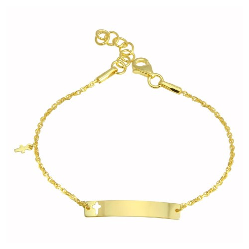 Wholesale Sterling Silver 925 Gold Plated Dangling Cross Baby ID Bracelet - DIB00077GP
