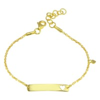 Wholesale Sterling Silver 925 Gold Plated Dangling Heart Baby ID Bracelet - DIB00078GP