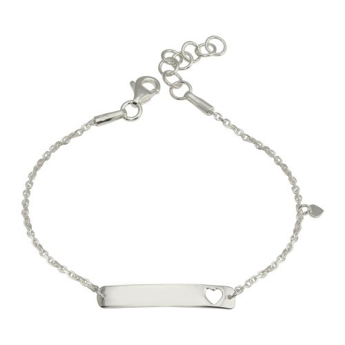 Wholesale Sterling Silver 925 Rhodium Plated Dangling Heart Baby ID Bracelet - DIB00078RH