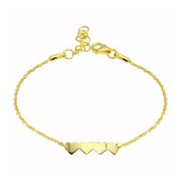 Wholesale Sterling Silver 925 Gold Plated 4 Hearts Chain Bracelet - DIB00079GP
