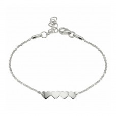 Wholesale Sterling Silver 925 Rhodium Plated 4 Hearts Chain Bracelet - DIB00079RH