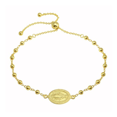 Wholesale Sterling Silver 925 Gold Plated Medallion Charm Beaded Bracelets - DIB00080GP