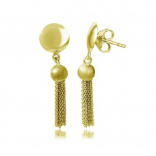 Wholesale Sterling Silver 925 Gold Plated Hanging Bead with Multi Strands Earrings - DIE00003GP