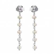 Wholesale Sterling Silver 925 Rhodium Plated Dangling Synthetic Pearl Earrings - DIE00006RH-PRL