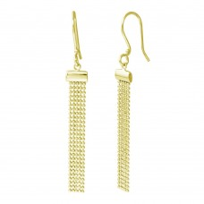 Wholesale Sterling Silver 925 Gold Plated DC Bead Chain Tassel Earrings - DIE00010GP