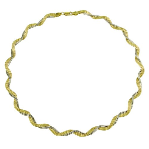 Wholesale Sterling Silver 925 2 Toned Gold Plated Braided Omega Round Necklace - DIN00007GP/RH