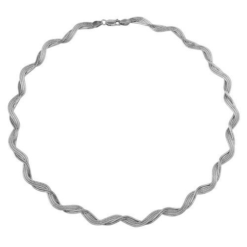 Wholesale Sterling Silver 925 Rhodium Plated Braided Omega Round Necklace - DIN00007RH
