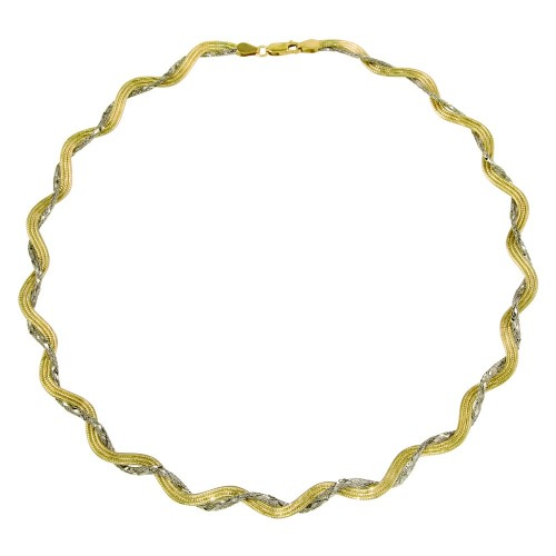 Wholesale Sterling Silver 925 2 Toned Gold Plated Braided Mesh and Omega Round Necklace - DIN00008GP/RH