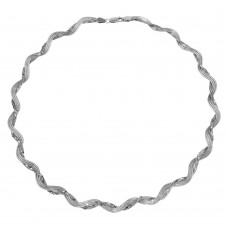 Wholesale Sterling Silver 925 Rhodium Plated Braided Mesh and Omega Round Necklace - DIN00008RH