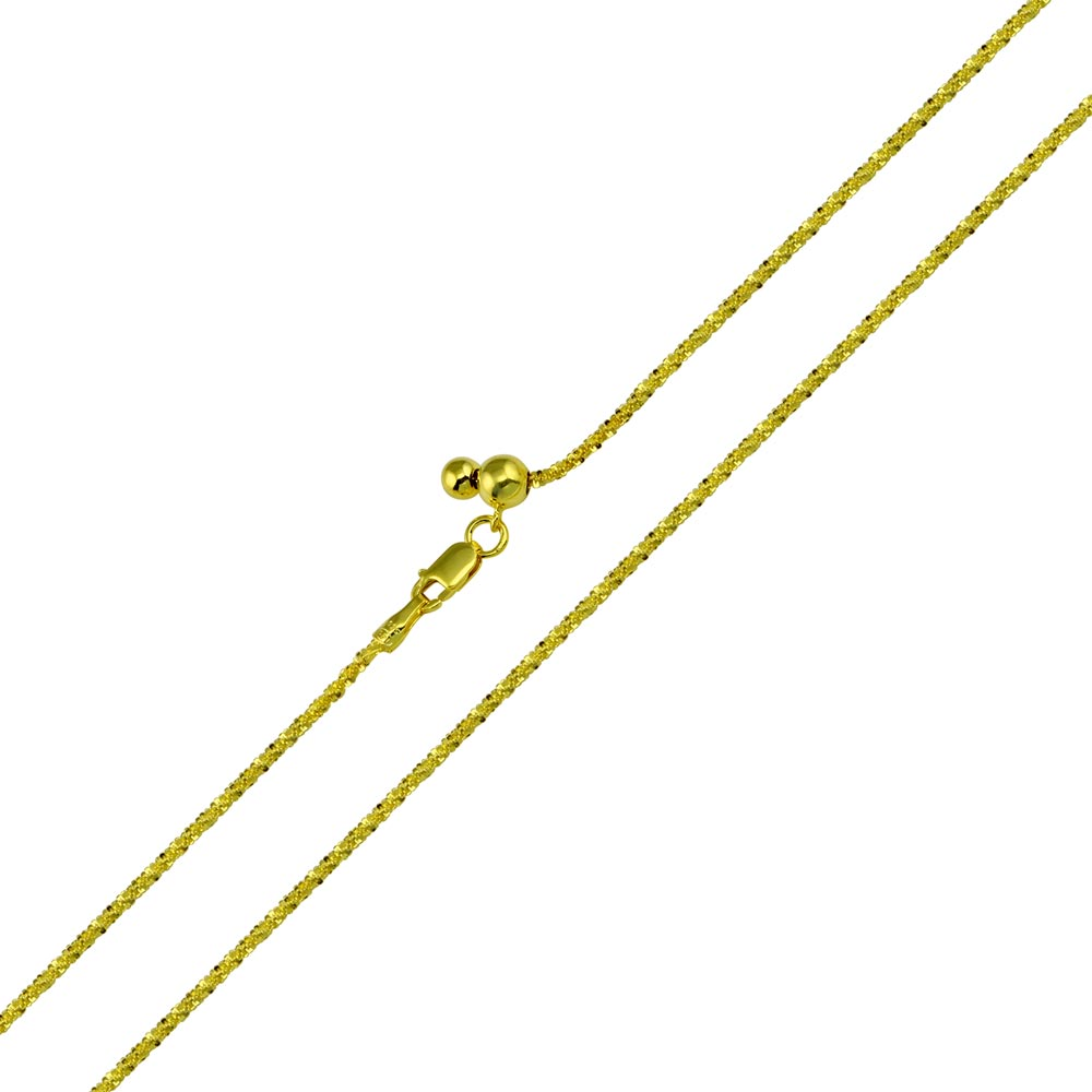 Wholesale Sterling Silver 925 Gold Plated Roc Slider Adjustable Chain Necklace - DIN00011GP