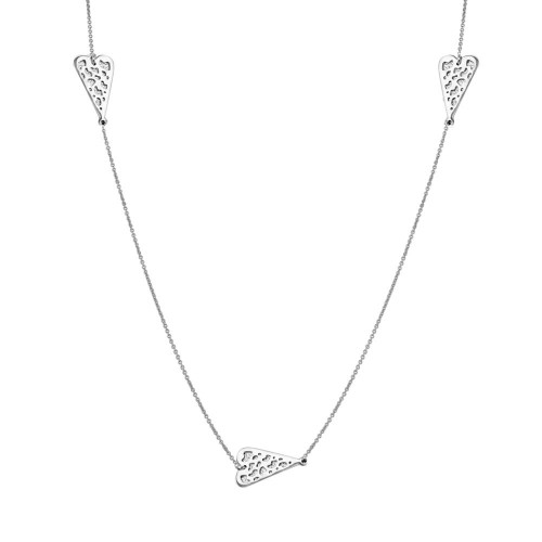 Wholesale Sterling Silver 925 Rhodium Plated 5 Heart Necklace - DIN00017RH