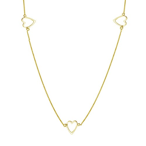 Wholesale Sterling Silver 925 Gold Plated 5 Open Heart Necklace - DIN00018GP