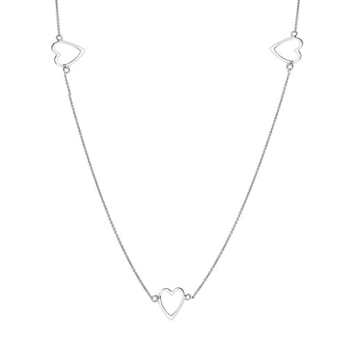 Wholesale Sterling Silver 925 Rhodium Plated 5 Open Heart Necklace - DIN00018RH