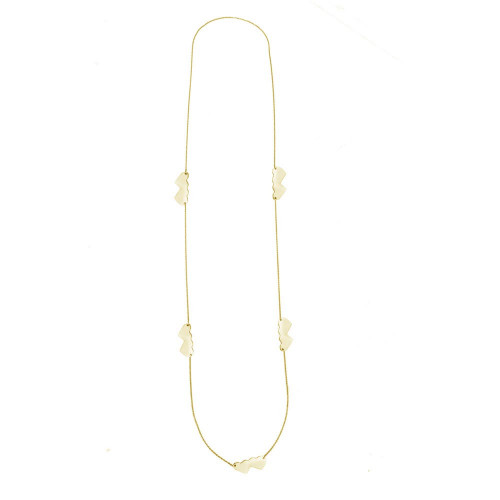 Wholesale Sterling Silver 925 Gold Plated Double Heart Necklace - DIN00020GP
