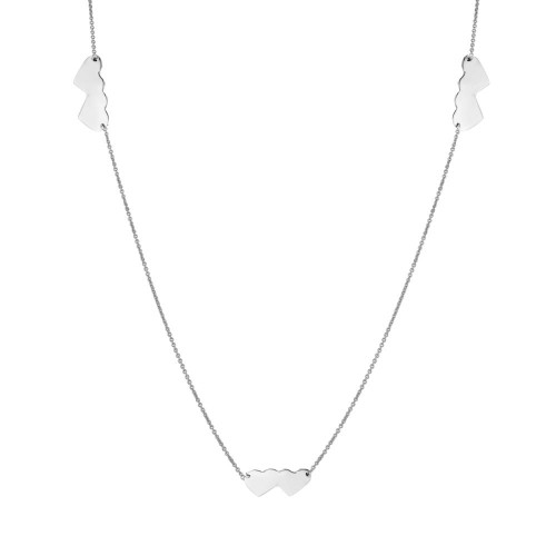 Wholesale Sterling Silver 925 Rhodium Plated Double Heart Necklace - DIN00020RH