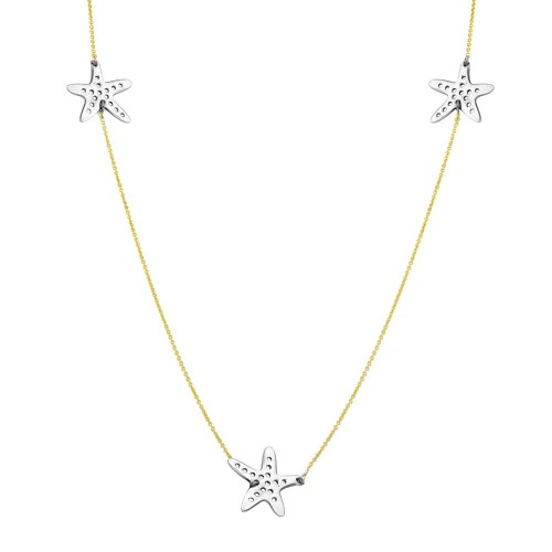 Wholesale Sterling Silver 925 Two Tone Starfish Necklace - DIN00021GP