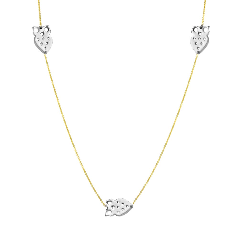 Wholesale Sterling Silver 925 2 Toned Gold Plated 5 Owl 34 Inches Necklace - DIN00022GP