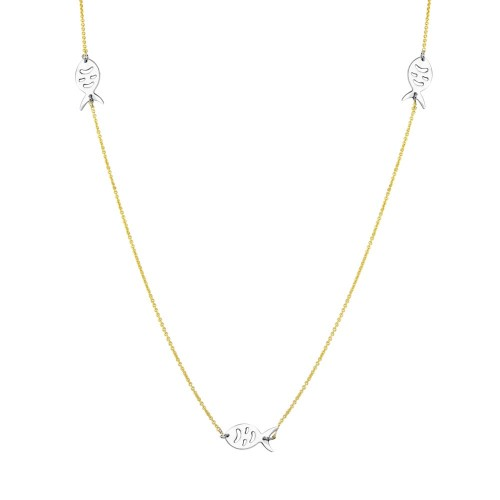 Wholesale Sterling Silver 925 2 Toned Gold Plated 5 Fish 34 Inches Necklace - DIN00023GP
