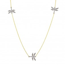 Sterling Silver Rhodium and Gold Plated Dragonfly Necklace - DIN00024