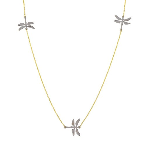 Wholesale Sterling Silver 925 Rhodium and Gold Plated Dragonfly Necklace - DIN00024