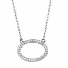 Sterling Silver Rhodium Plated Open Oval Necklace with CZ - DIN00042RH