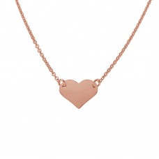 Wholesale Sterling Silver 925 Rose Gold Plated High Polished Heart Necklace - DIN00044RGP