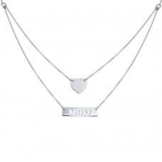 "Wholesale Sterling Silver 925 Rhodium Plated Double Chain Heart and ""Mom"" Pendant Necklace - DIN00053RH"