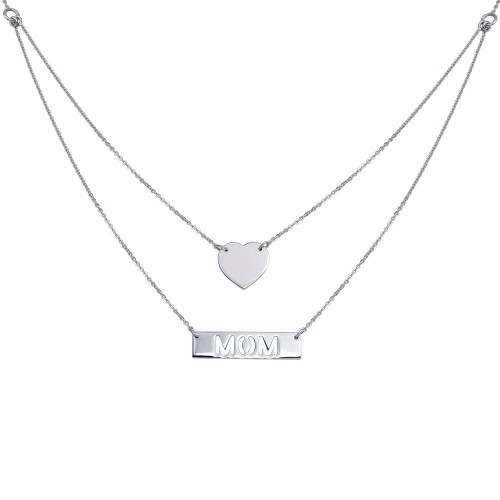"""Wholesale Sterling Silver 925 Rhodium Plated Double Chain Heart and """"Mom"""" Pendant Necklace - DIN00053RH"""