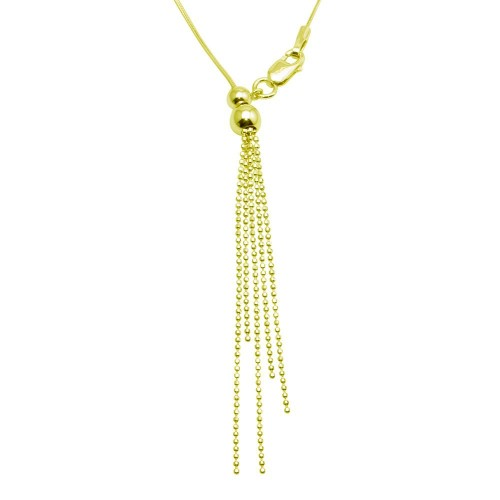 Wholesale Sterling Silver 925 Gold Plated Adjustable Lariat Necklace with Tassel End - DIN00059GP
