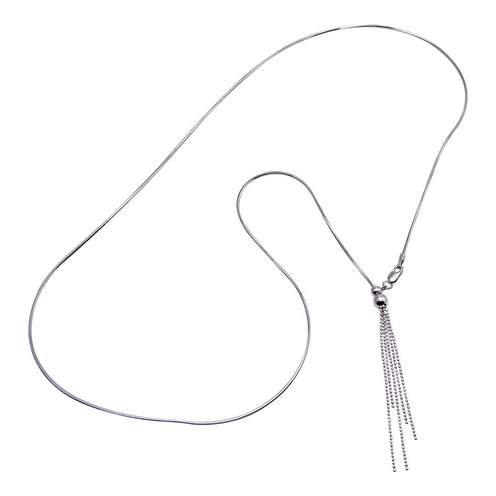 Wholesale Sterling Silver 925 Rhodium Plated Adjustable Lariat Necklace with Tassel End - DIN00059RH