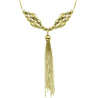 Wholesale Sterling Silver 925 Gold Plated Multi Beaded Necklace with Tassel End - DIN00060GP