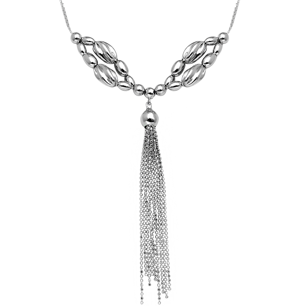 Wholesale Sterling Silver 925 Rhodium Plated Multi Beaded Necklace with Tassel End - DIN00060RH
