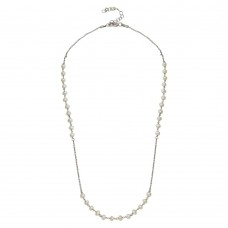 Wholesale Sterling Silver 925 Rhodium Plated Synthetic Pearl Beads Necklace - DIN00072RH-PRL