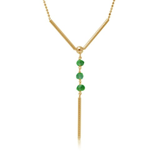 Wholesale Sterling Silver 925 Gold Plated DC Bead Chain with Dangling Green Beads - DIN00074GP-EM