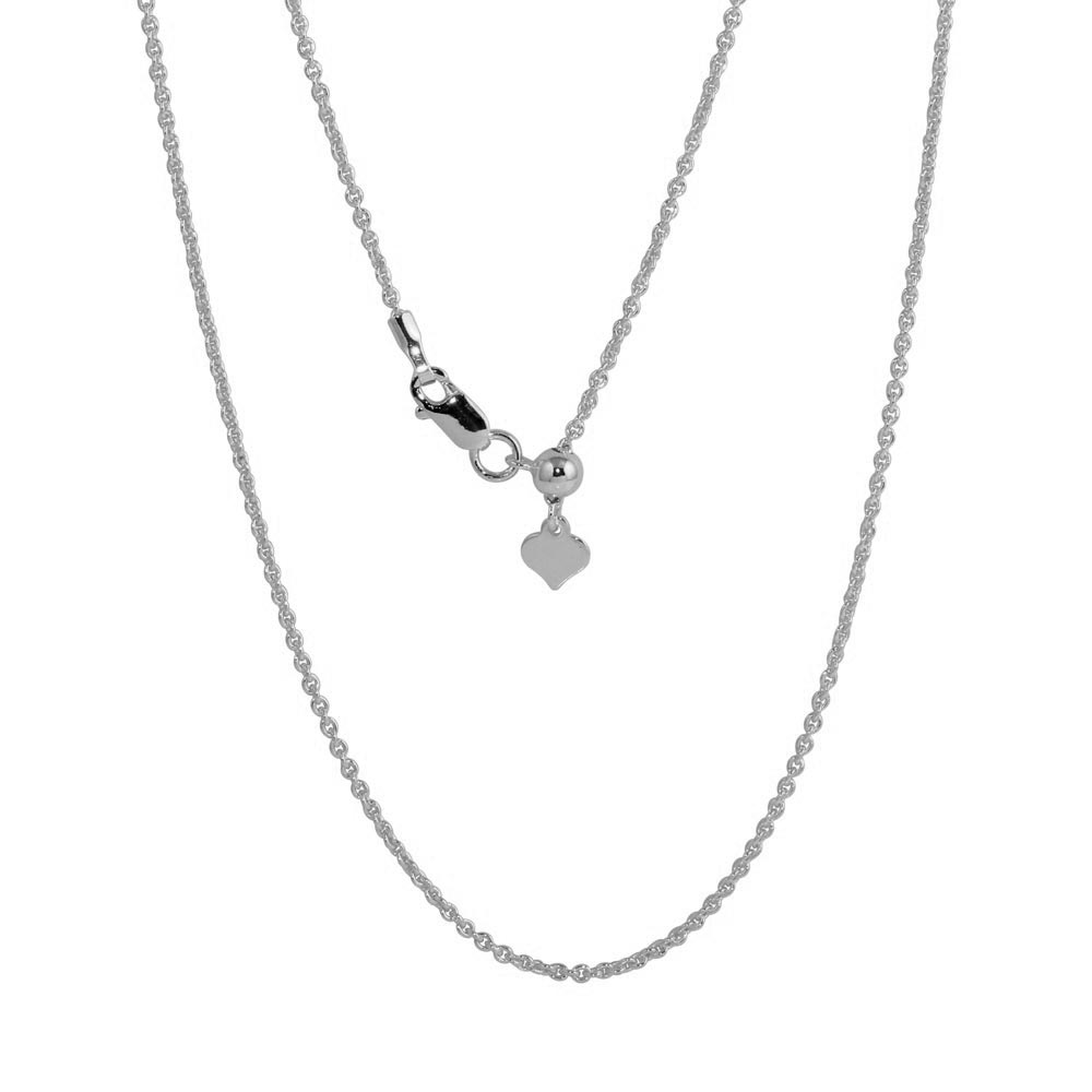 Wholesale Sterling Silver 925 Rhodium Plated Adjustable Link Slider Chain with Hanging Heart - DIN00087RH