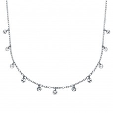 Wholesale Sterling Silver 925 Rhodium Plated Confetti Choker Necklace - DIN00092