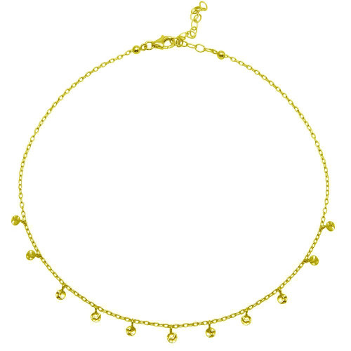 Wholesale Sterling Silver 925 Gold Plated Confetti Choker Necklace - DIN00092GP