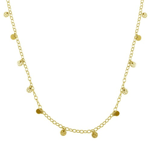 Wholesale Sterling Silver 925 Gold Plated Confetti Disc Necklace - DIN00097GP