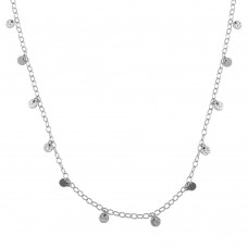 Wholesale Sterling Silver 925 Rhodium Plated Confetti Disc Necklace - DIN00097RH