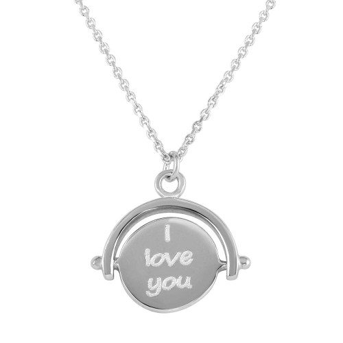 "Wholesale Sterling Silver 925 Rhodium Plated Engraved ""I Love You"" Pendant Necklace - DIN00098RH"