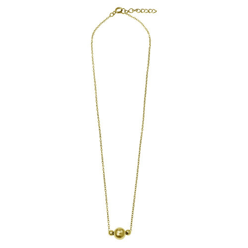 Wholesale Sterling Silver 925 Gold Plated 3 Beads Necklace - DIN00100GP