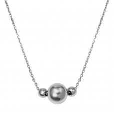 Wholesale Sterling Silver 925 Rhodium Plated 3 Beads Necklace - DIN00100RH