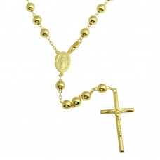 Wholesale Sterling Silver 925 Gold Plated Beaded Rosary - DIN00103GP