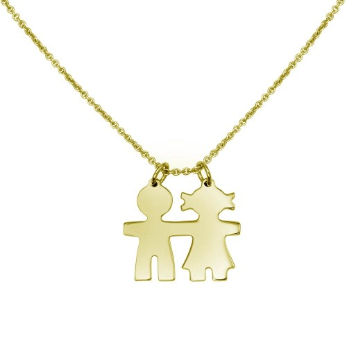 Wholesale Sterling Silver 925 Gold Plated Baby Boy and Girl Necklace - DIN00104GP