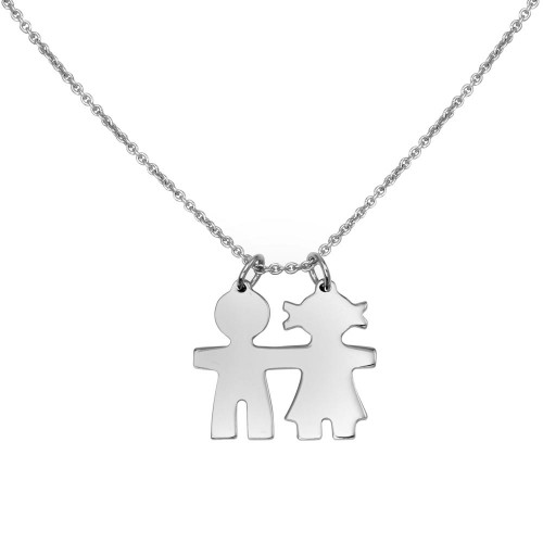 Wholesale Sterling Silver 925 Rhodium Plated Baby Boy and Girl Necklace - DIN00104RH